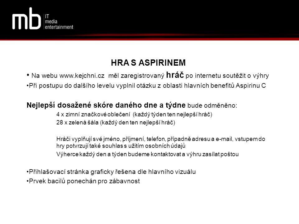 HRA S ASPIRINEM Na webu www.kejchni.cz měl zaregistrovaný hráč po internetu soutěžit o výhry.