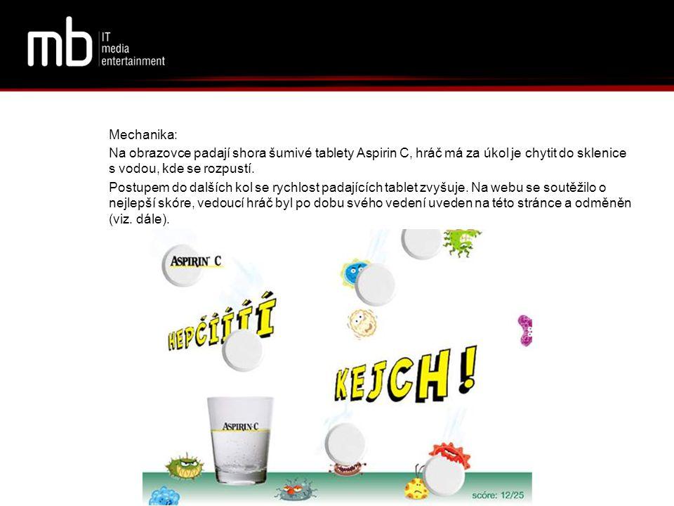Mechanika: Na obrazovce padají shora šumivé tablety Aspirin C, hráč má za úkol je chytit do sklenice s vodou, kde se rozpustí.