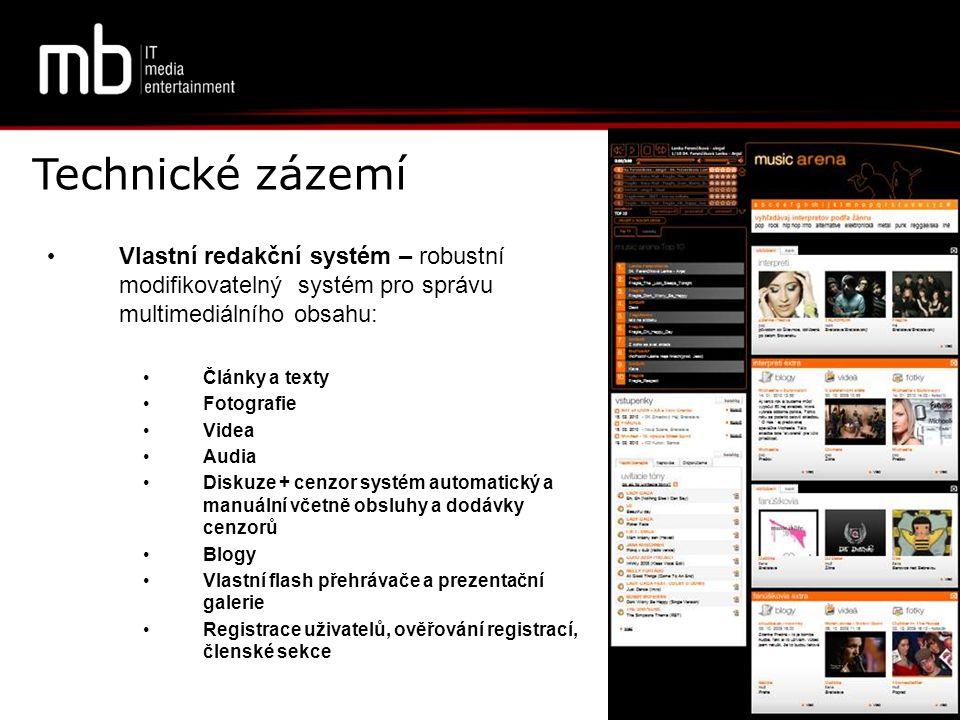 Technické zázemí Vlastní redakční systém – robustní modifikovatelný systém pro správu multimediálního obsahu: