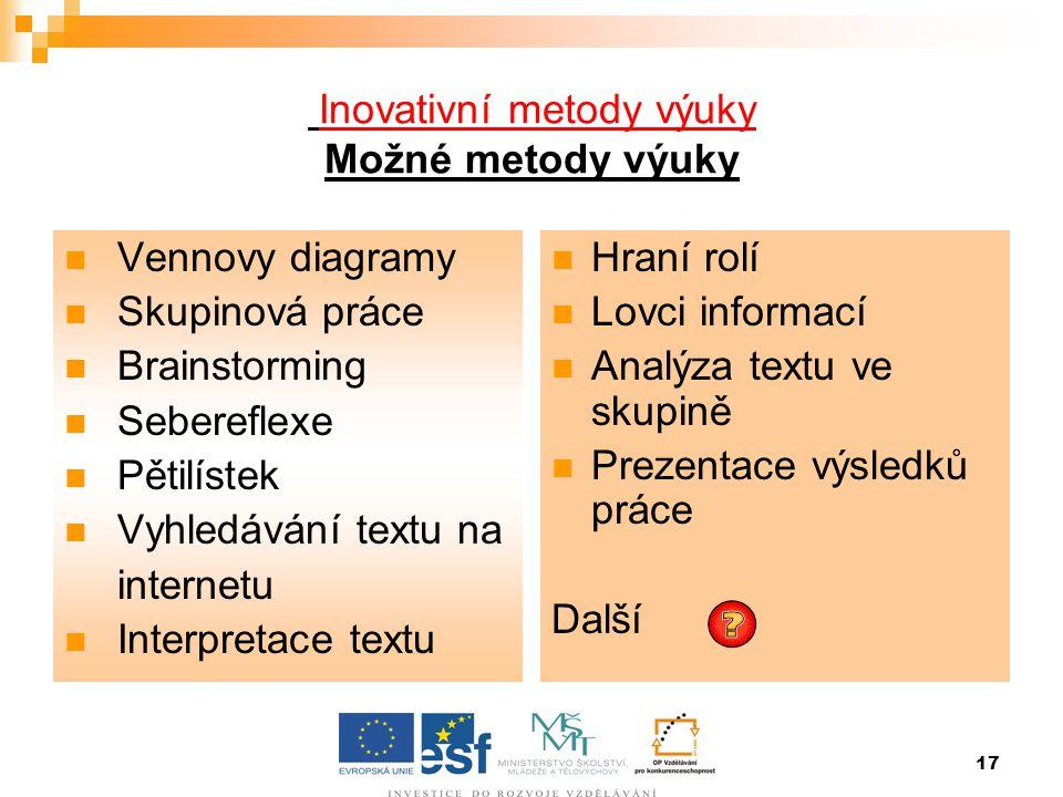 Inovativní metody výuky Možné metody výuky