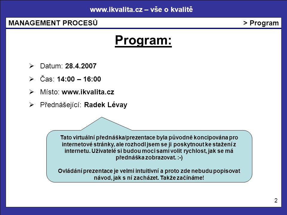 Program: > Program Datum: 28.4.2007 Čas: 14:00 – 16:00