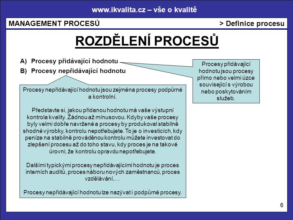 Procesy nepřidávající hodnotu lze nazývat i podpůrné procesy.