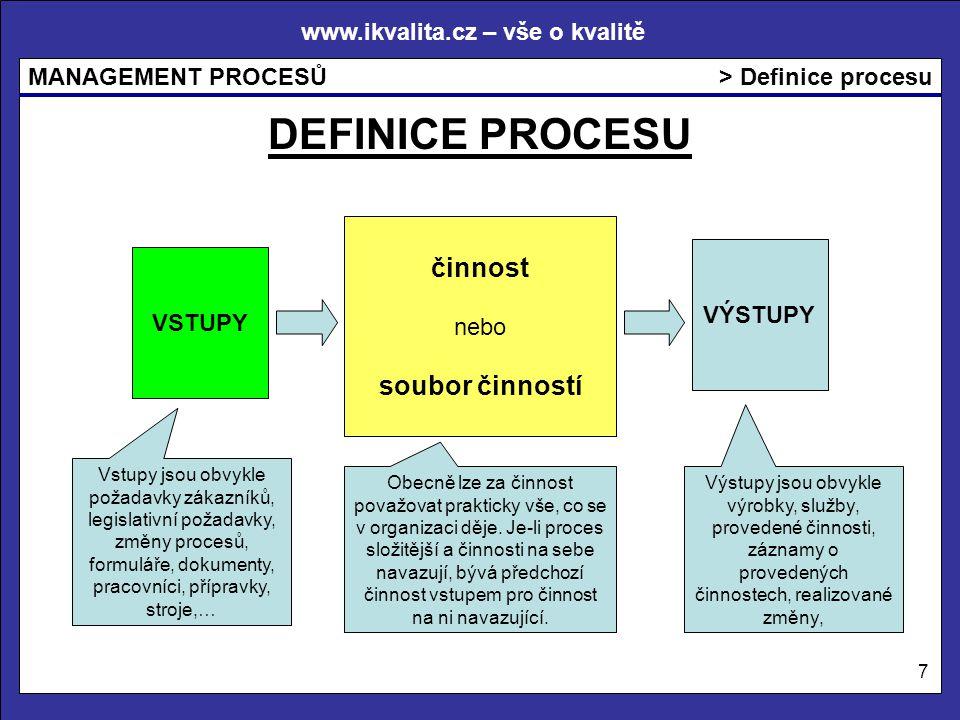 DEFINICE PROCESU činnost soubor činností > Definice procesu nebo