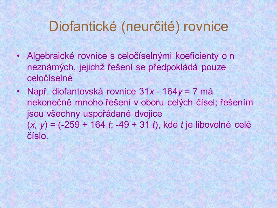 Diofantické (neurčité) rovnice