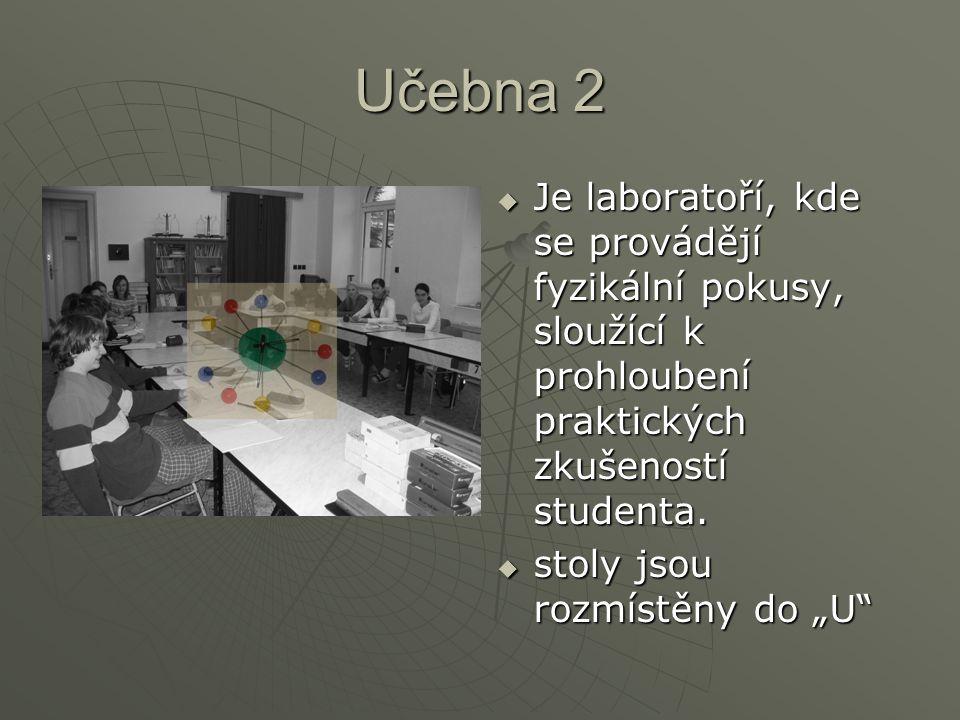 Učebna 2 Je laboratoří, kde se provádějí fyzikální pokusy, sloužící k prohloubení praktických zkušeností studenta.