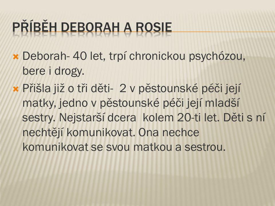 Příběh Deborah a Rosie Deborah- 40 let, trpí chronickou psychózou, bere i drogy.