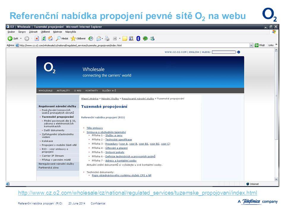 Referenční nabídka propojení pevné sítě O2 na webu