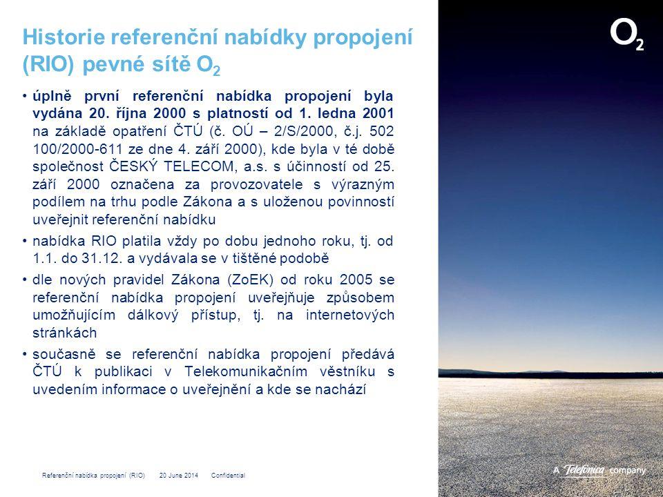 Historie referenční nabídky propojení (RIO) pevné sítě O2