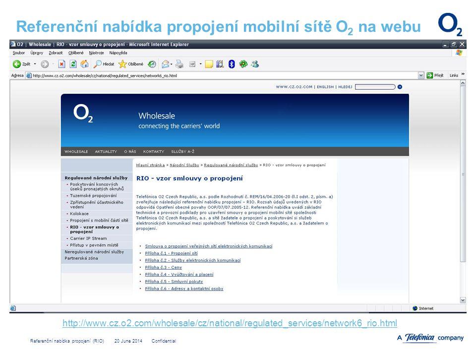 Referenční nabídka propojení mobilní sítě O2 na webu