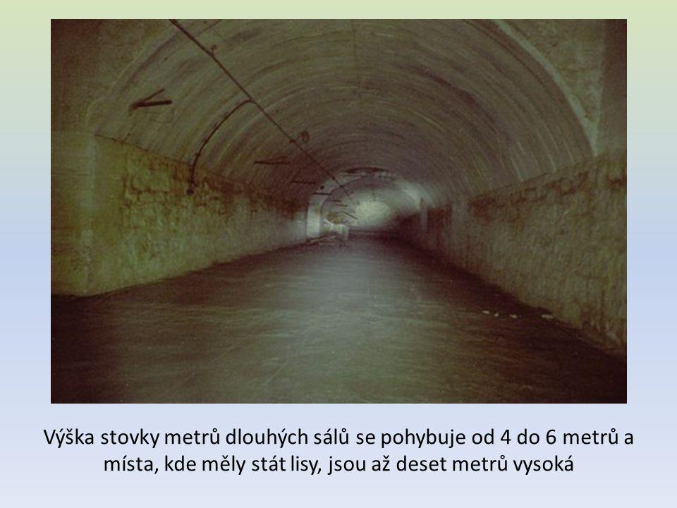 Výška stovky metrů dlouhých sálů se pohybuje od 4 do 6 metrů a místa, kde měly stát lisy, jsou až deset metrů vysoká