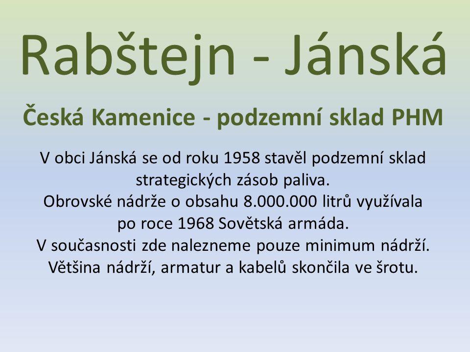 Česká Kamenice - podzemní sklad PHM