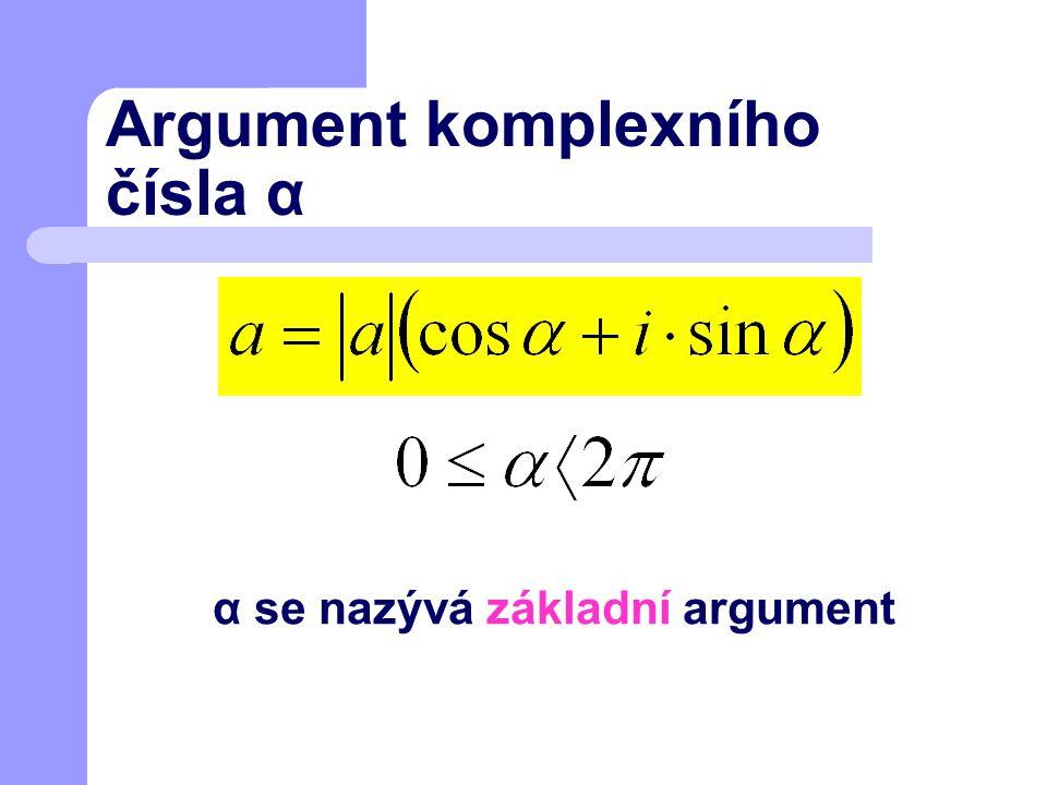Argument komplexního čísla α