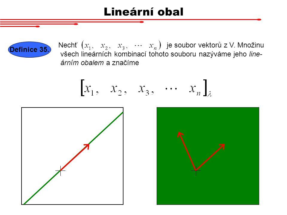 Lineární obal Nechť je soubor vektorů z V. Množinu Definice 35.