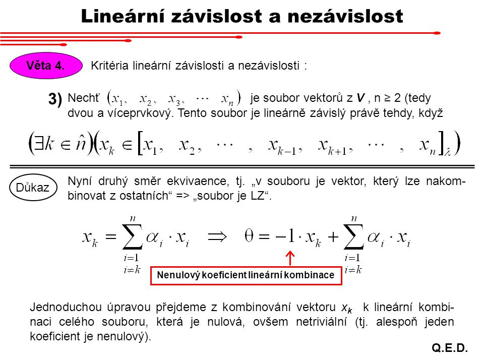 Nenulový koeficient lineární kombinace