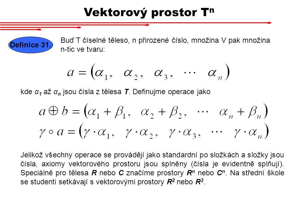 Vektorový prostor Tn Buď T číselné těleso, n přirozené číslo, množina V pak množina n-tic ve tvaru: