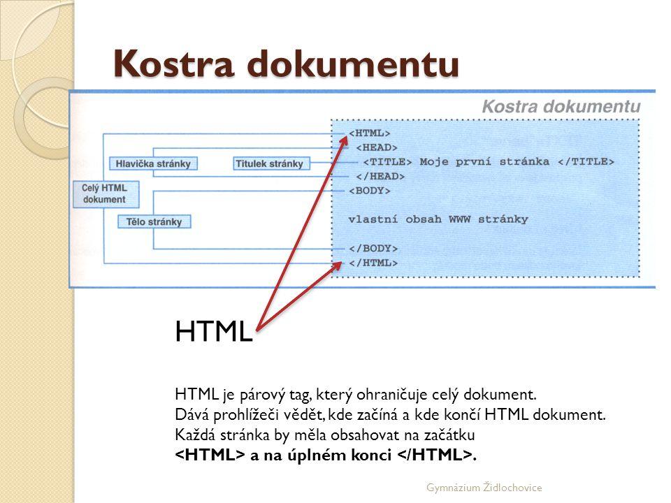 Kostra dokumentu HTML. HTML je párový tag, který ohraničuje celý dokument. Dává prohlížeči vědět, kde začíná a kde končí HTML dokument.