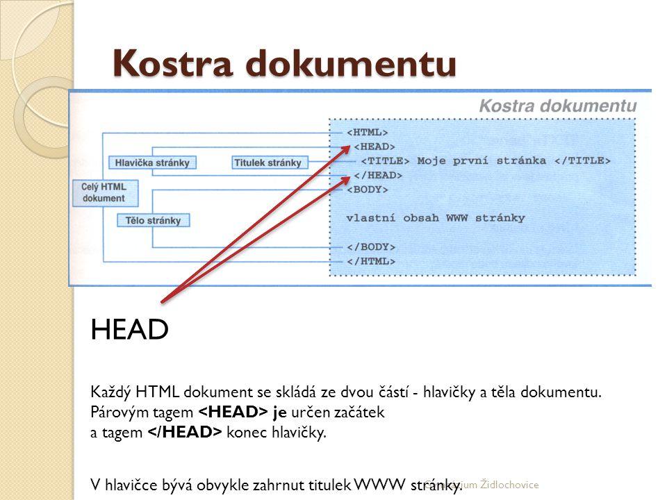 Kostra dokumentu HEAD. Každý HTML dokument se skládá ze dvou částí - hlavičky a těla dokumentu. Párovým tagem <HEAD> je určen začátek.