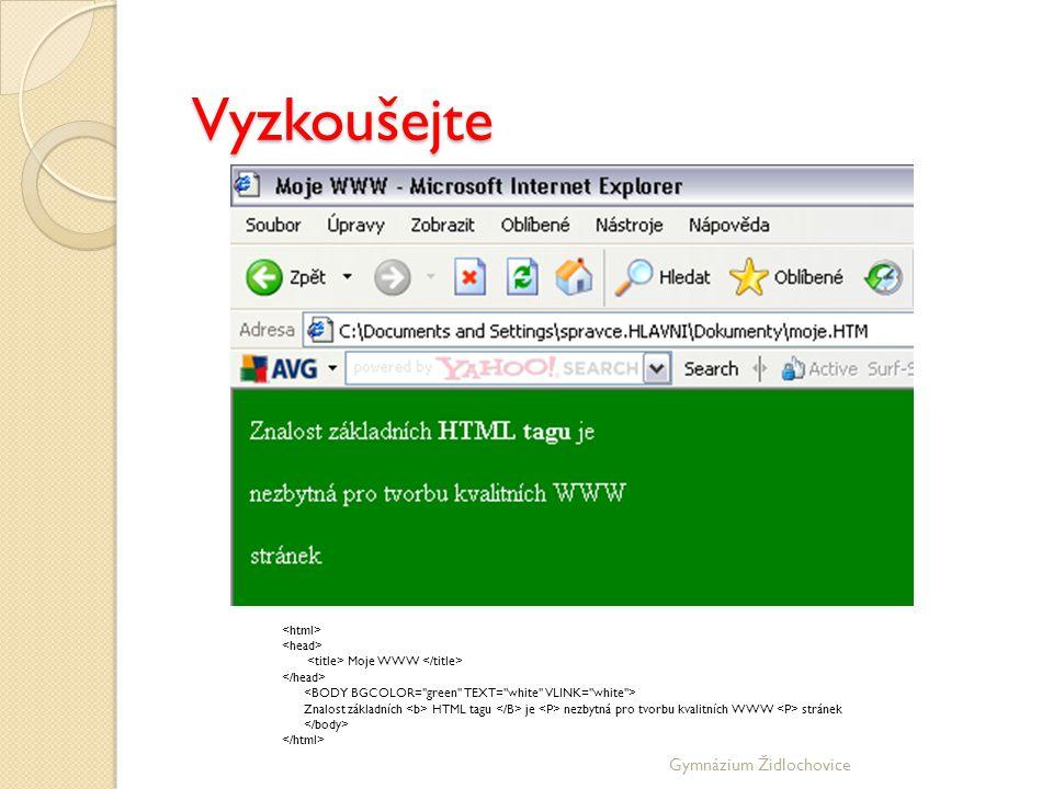 Vyzkoušejte Gymnázium Židlochovice <html> <head>