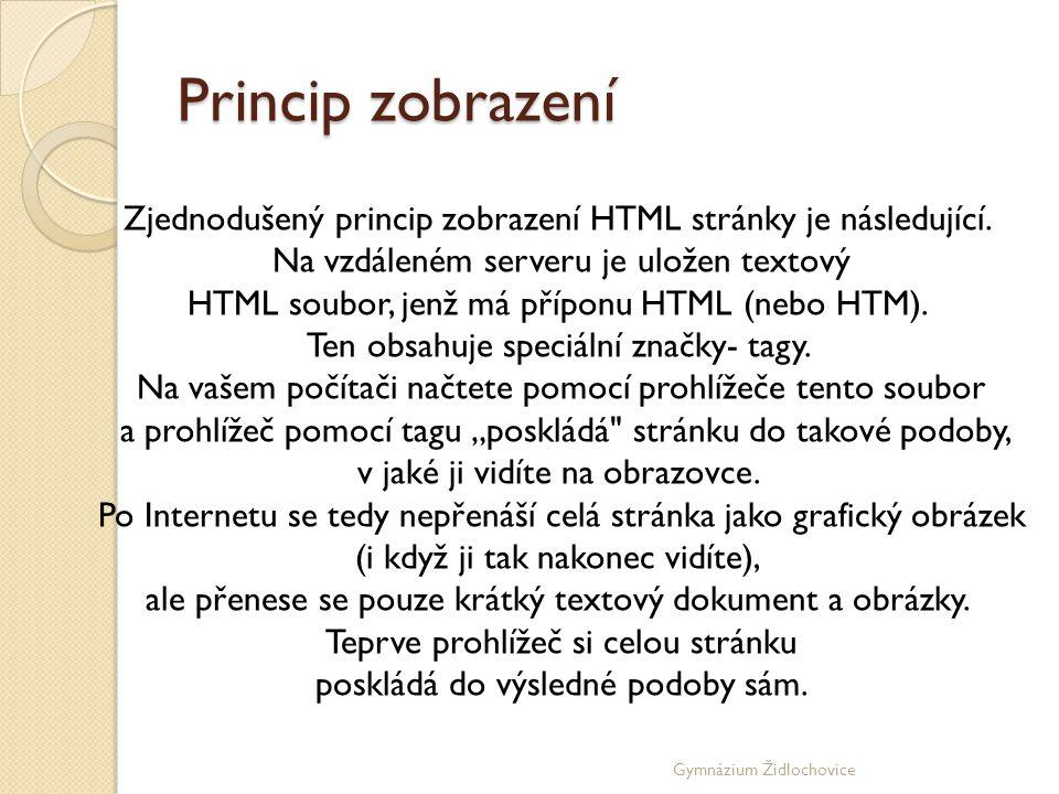 Princip zobrazení Zjednodušený princip zobrazení HTML stránky je následující. Na vzdáleném serveru je uložen textový.