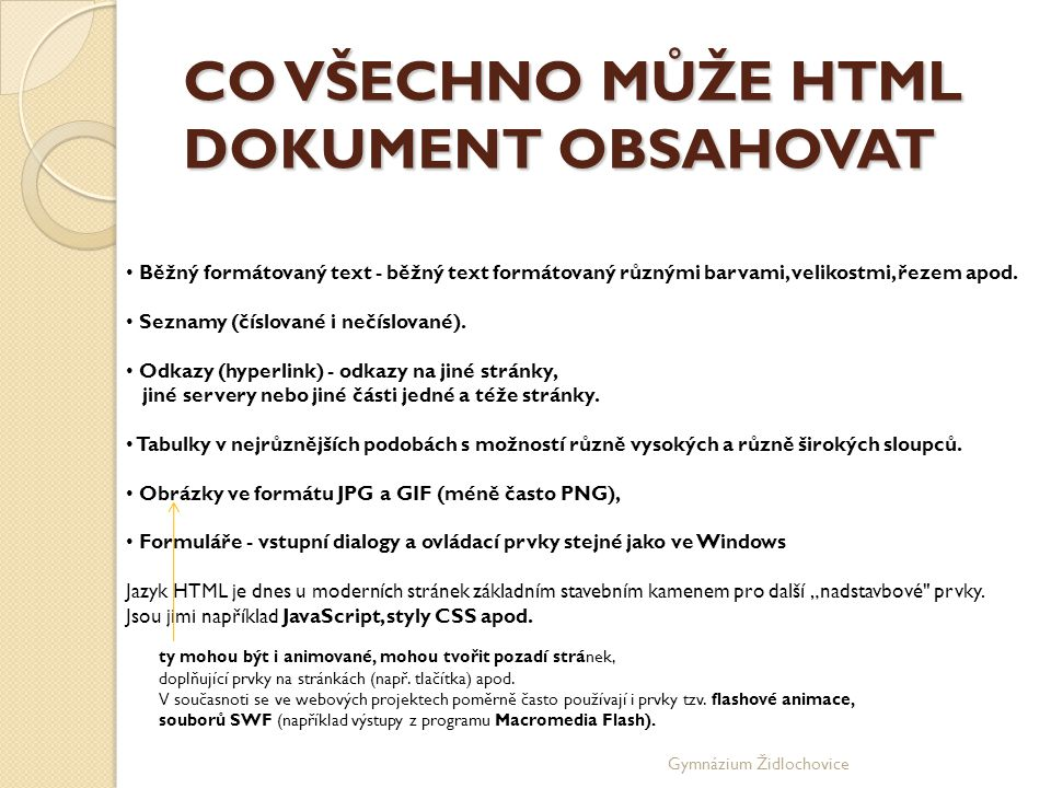 CO VŠECHNO MŮŽE HTML DOKUMENT OBSAHOVAT
