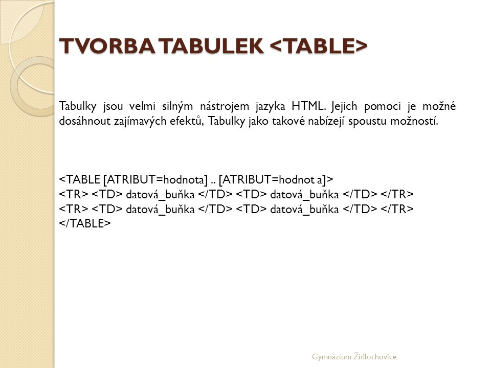 TVORBA TABULEK <TABLE>