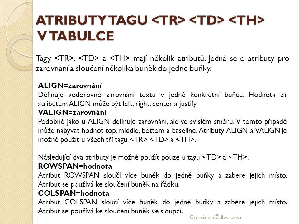ATRIBUTY TAGU <TR> <TD> <TH> V TABULCE