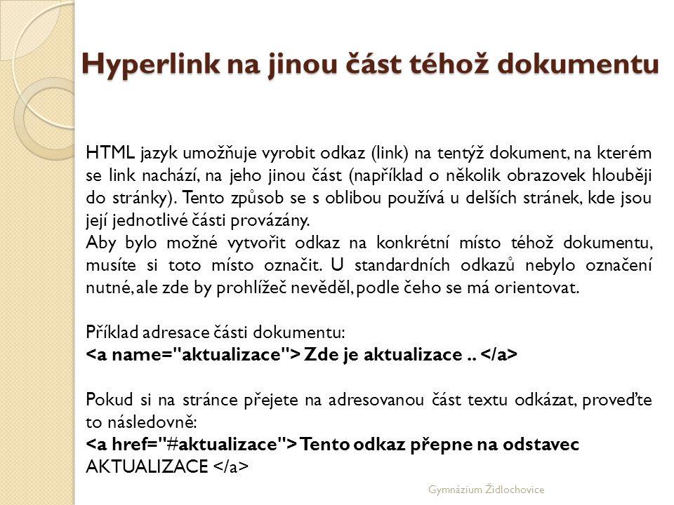 Hyperlink na jinou část téhož dokumentu