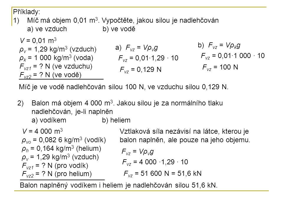 Příklady: Míč má objem 0,01 m3. Vypočtěte, jakou silou je nadlehčován a) ve vzduch b) ve vodě.