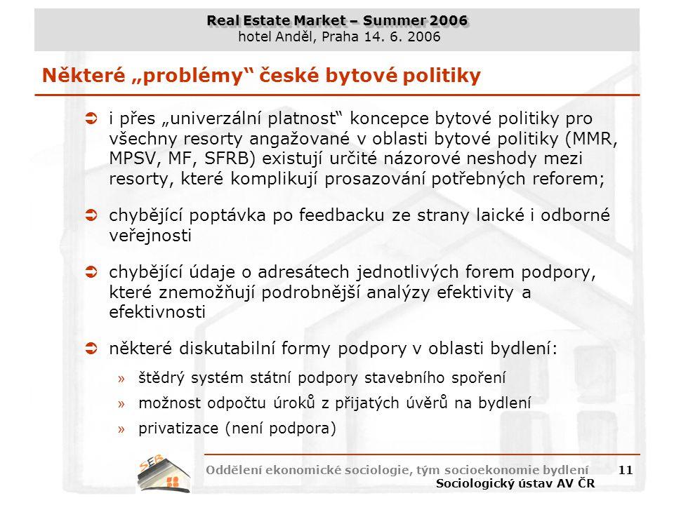 """Některé """"problémy české bytové politiky"""