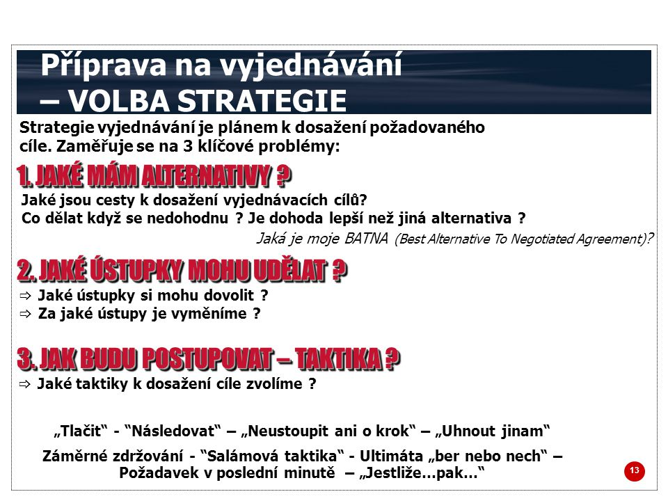 Příprava na vyjednávání – VOLBA STRATEGIE