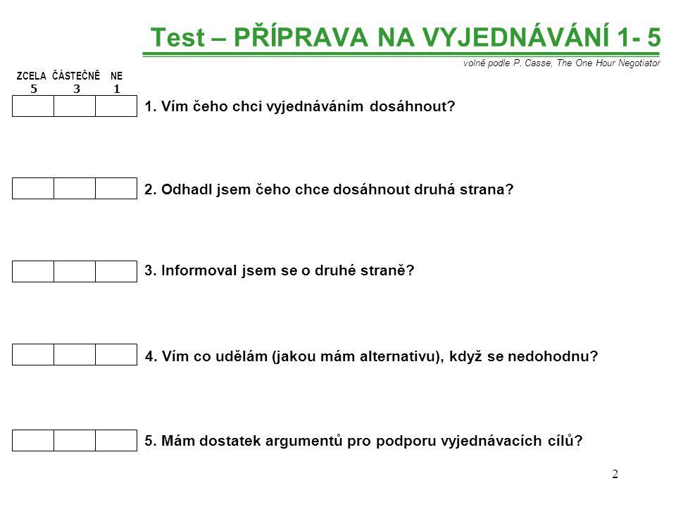 Test – PŘÍPRAVA NA VYJEDNÁVÁNÍ 1- 5