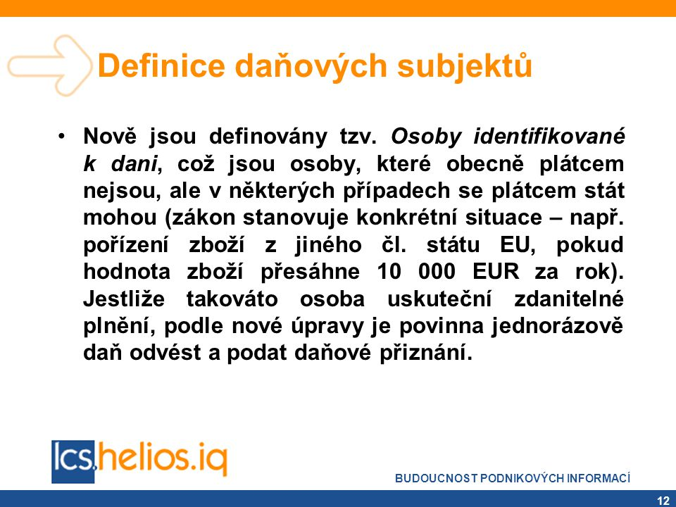 Definice daňových subjektů