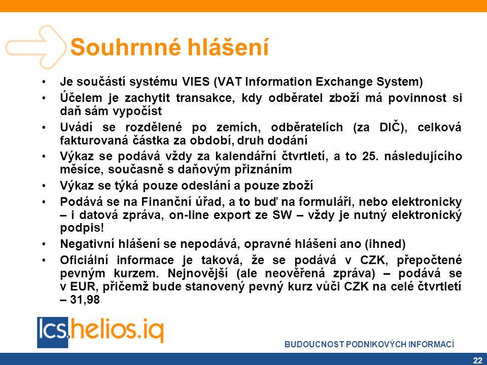 Souhrnné hlášení Je součástí systému VIES (VAT Information Exchange System)