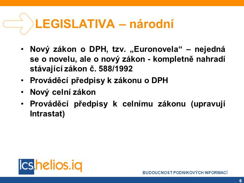 """LEGISLATIVA – národní Nový zákon o DPH, tzv. """"Euronovela – nejedná se o novelu, ale o nový zákon - kompletně nahradí stávající zákon č. 588/1992."""