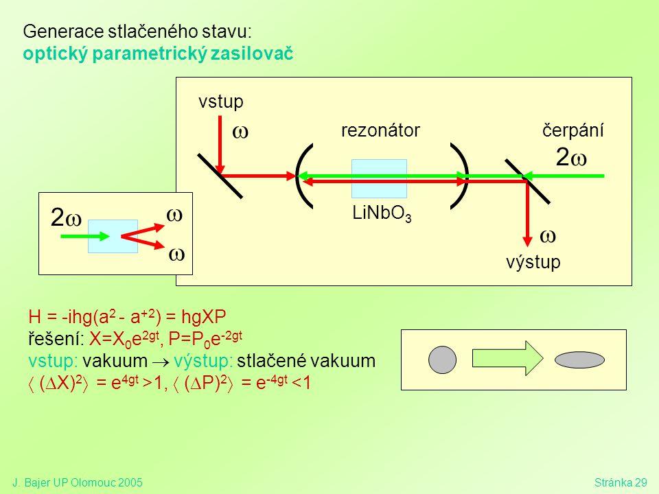 w 2w 2w w Generace stlačeného stavu: optický parametrický zasilovač