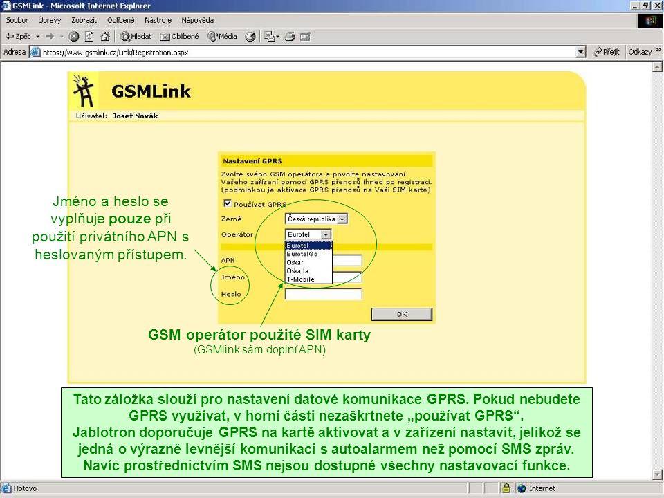 GSM operátor použité SIM karty
