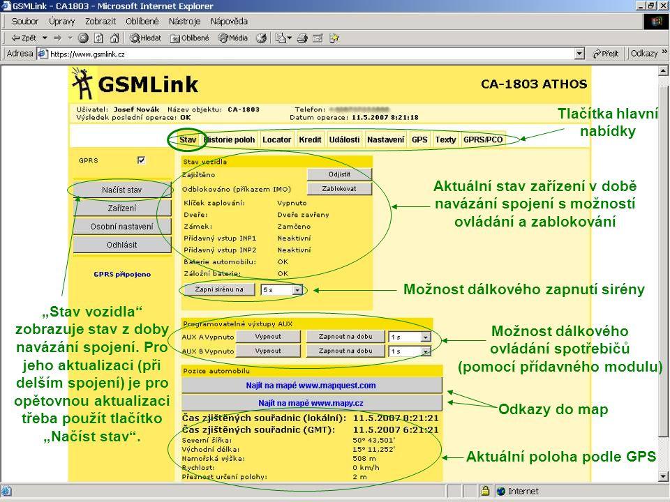 Tlačítka hlavní nabídky (pomocí přídavného modulu)