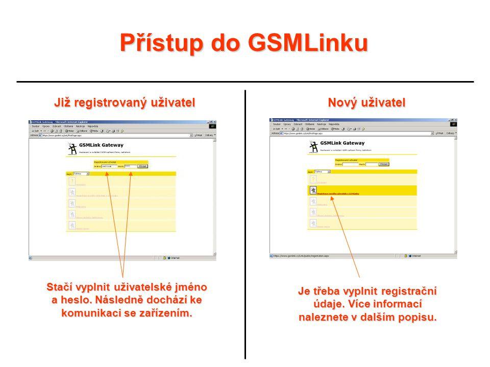 Přístup do GSMLinku Již registrovaný uživatel Nový uživatel