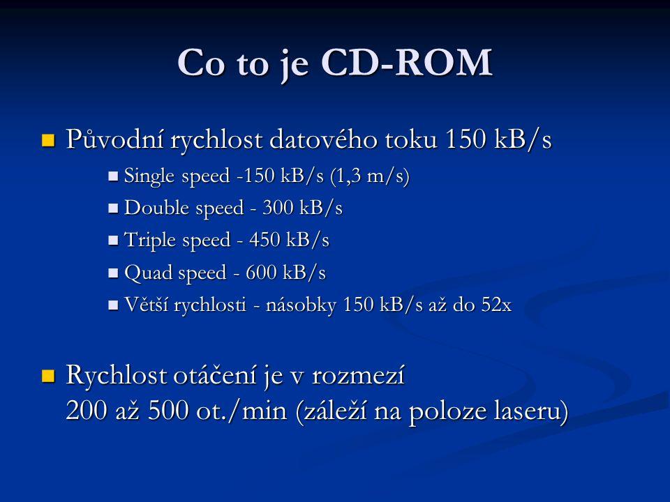 Co to je CD-ROM Původní rychlost datového toku 150 kB/s