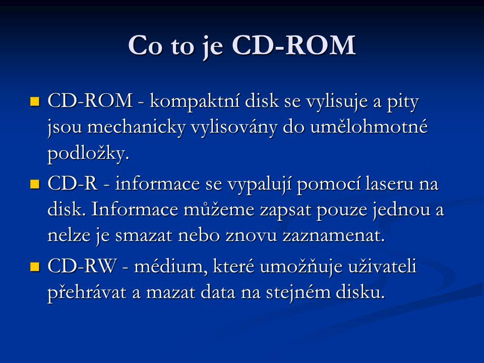 Co to je CD-ROM CD-ROM - kompaktní disk se vylisuje a pity jsou mechanicky vylisovány do umělohmotné podložky.