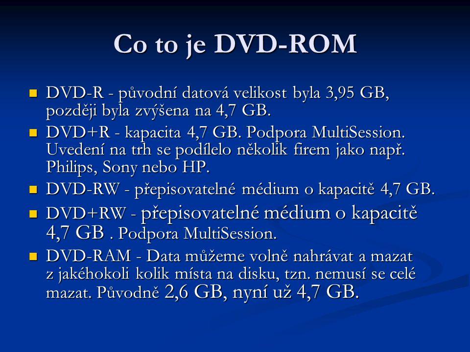 Co to je DVD-ROM DVD-R - původní datová velikost byla 3,95 GB, později byla zvýšena na 4,7 GB.