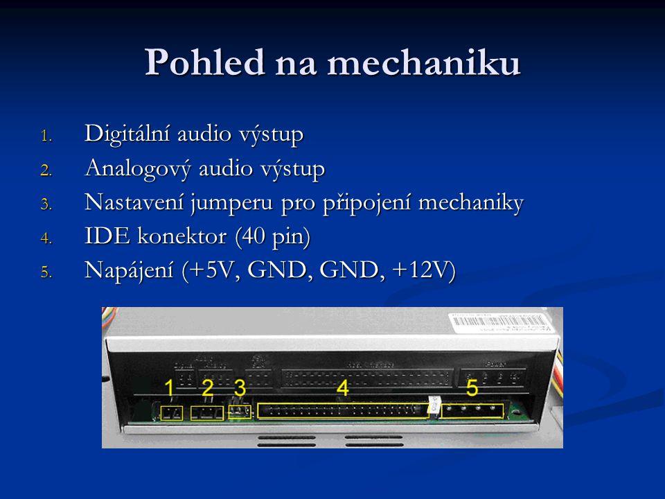 Pohled na mechaniku Digitální audio výstup Analogový audio výstup