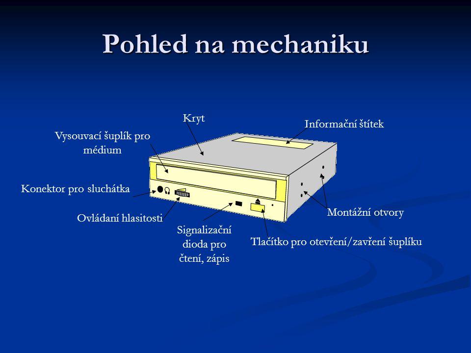 Pohled na mechaniku Kryt Informační štítek Vysouvací šuplík pro médium