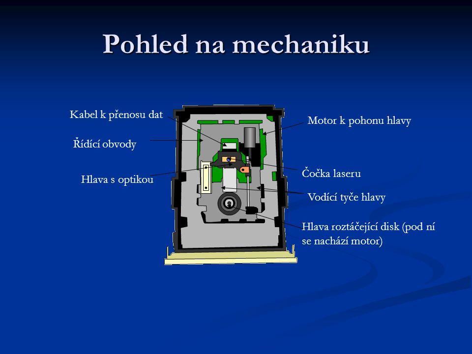 Pohled na mechaniku Kabel k přenosu dat Motor k pohonu hlavy