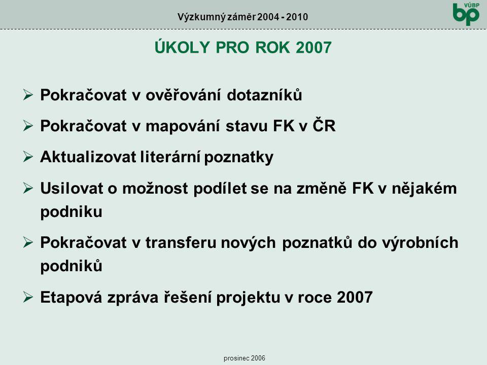 Pokračovat v ověřování dotazníků Pokračovat v mapování stavu FK v ČR