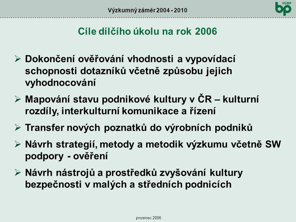 Cíle dílčího úkolu na rok 2006
