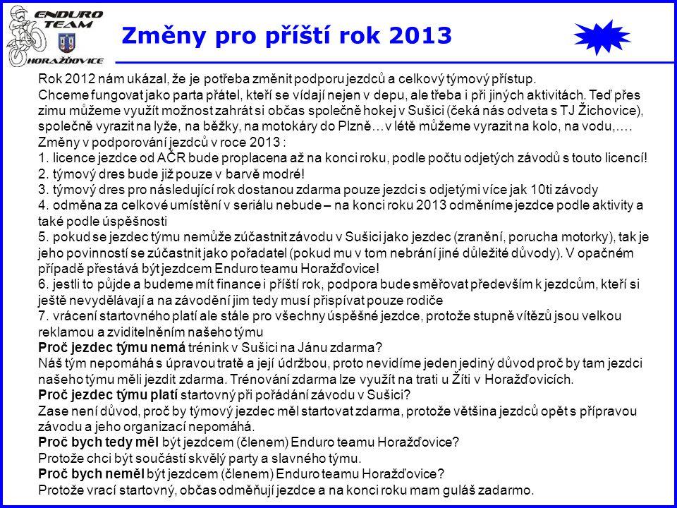 Změny pro příští rok 2013