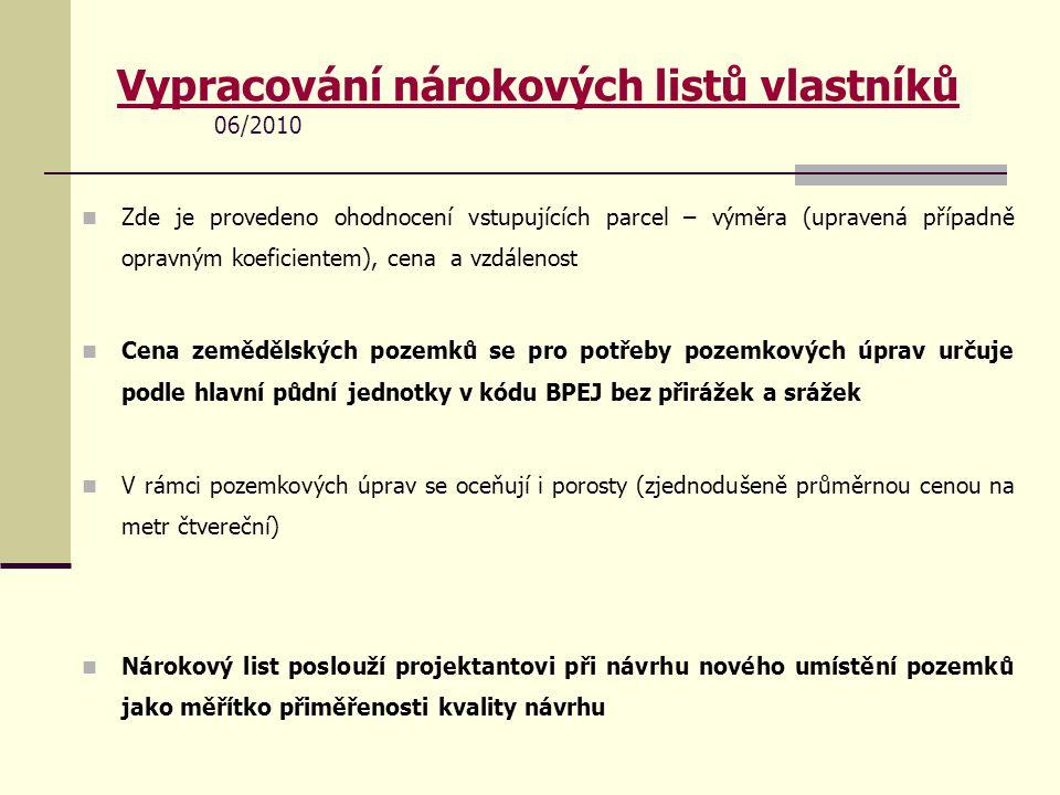 Vypracování nárokových listů vlastníků 06/2010