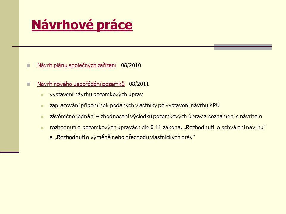 Návrhové práce Návrh plánu společných zařízení 08/2010