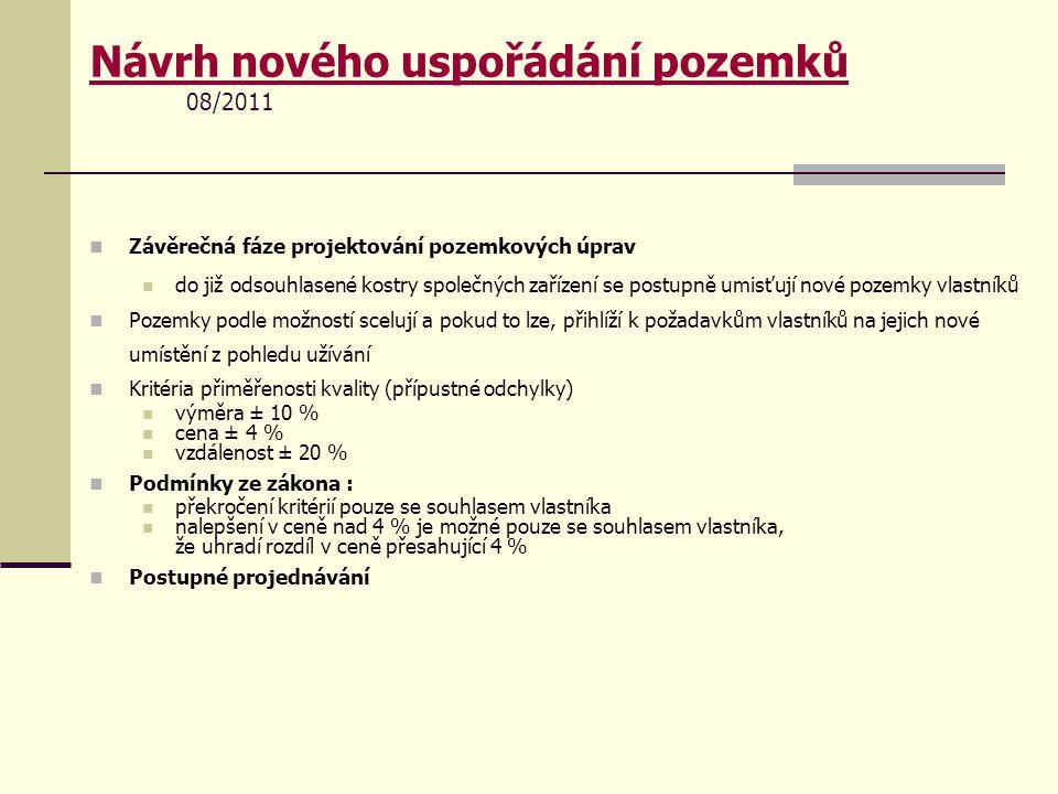 Návrh nového uspořádání pozemků 08/2011